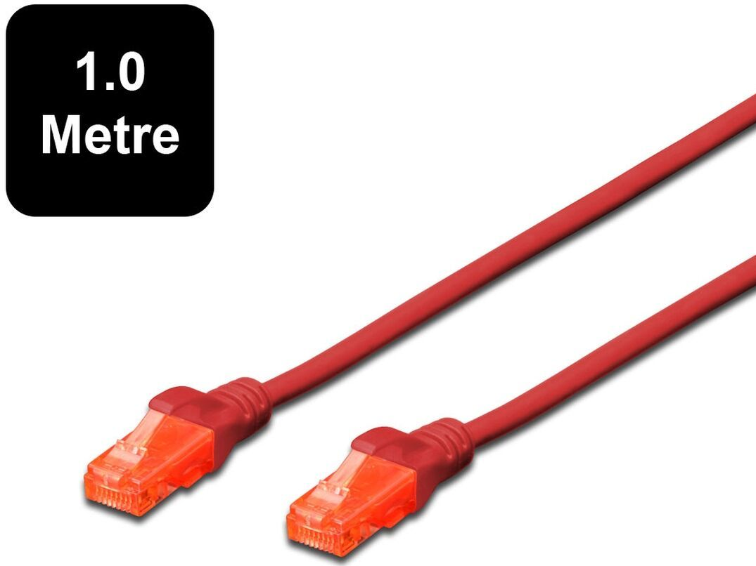 1m Digitus UTP Cat6 Network Cable - Red image