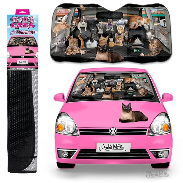 Car Full of Cats Auto Shade image