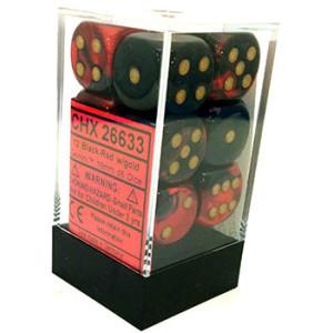 Chessex Gemini 16mm D6 Dice Block: Black-Red/Gold image