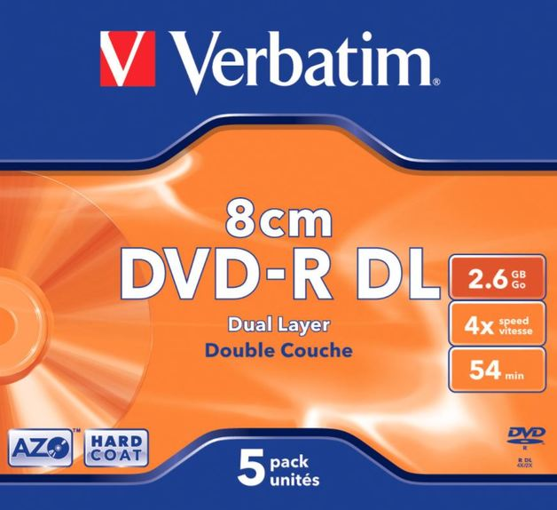 Verbatim DVD-R DL 2.6GB Hardcoat 4x (5 Pack)