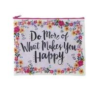 Natural Life: Recycled Zip Pencil Bag - More Happy (Large)
