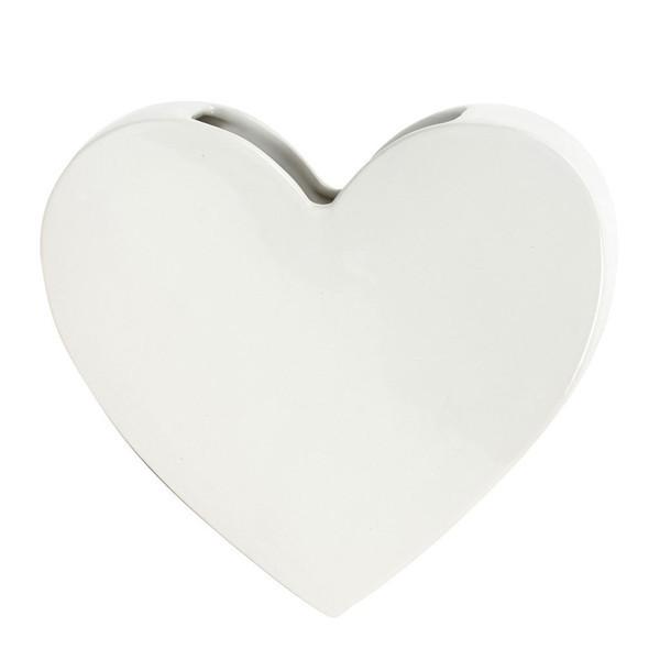 Decor Living: Wall Mounted Heart Vase - White