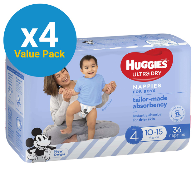 Huggies Ultra Dry Nappies Bulk Value Box - Size 4 Toddler Boy (144)