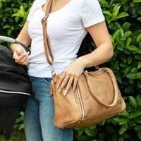 Isoki: Double Zip Satchel Bag - Latte