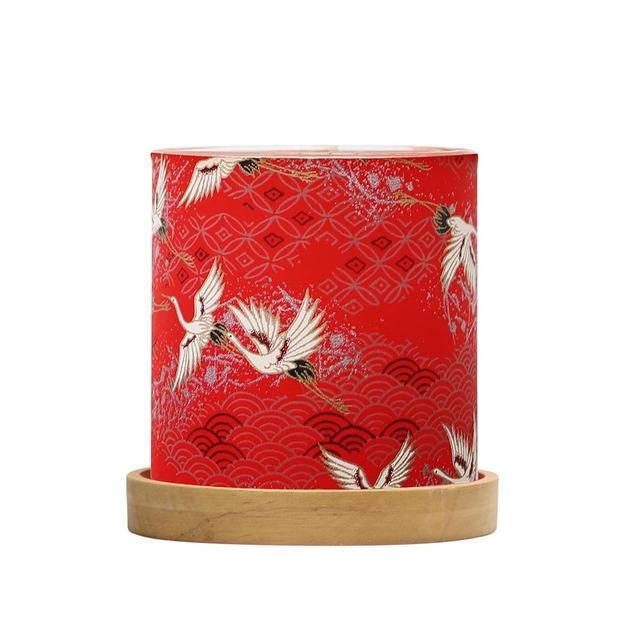 Mini Glass Lantern Sky of Cranes (Red)