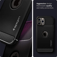 "Spigen Rugged Armour iPhone 12 Pro Max Case (6.7"") - Matte Black"