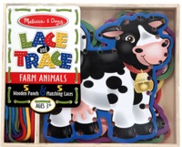 Melissa & Doug: Wooden Lace and Trace Learning Toy Animals