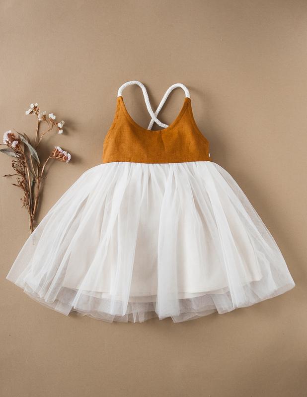 Karibou Kids: Willa Linen Reversible Tutu Dress - Woodland 4YRS