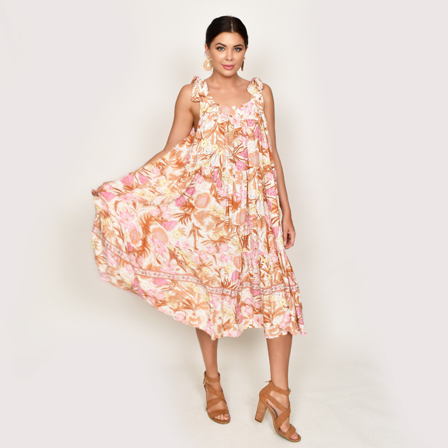 Adorne: Poppy Floral Tiered Dress Pink - (One Size)