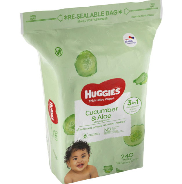 Huggies: Thick Baby Wipes - Cucumber & Aloe (240 Pack)