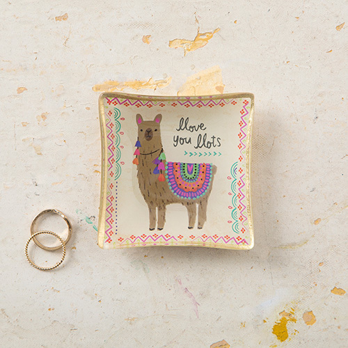 Natural Life: Mini Glass Tray - Llama