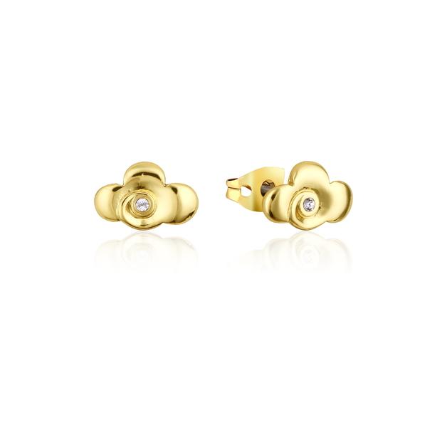 Couture Kingdom: Disney Mulan Warrior Symbol Stud Earrings Yellow Gold
