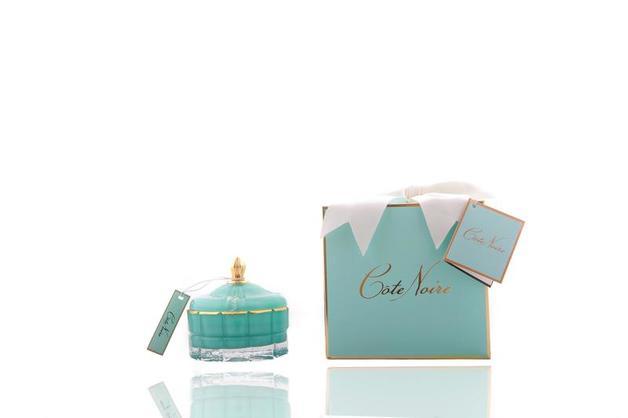 Cote Noire: Round Art Deco Candle - Blue