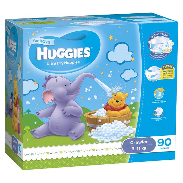 Huggies Ultra Dry Nappies: Jumbo Pack - Crawler Boy 6-11kg (90)