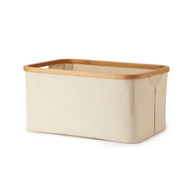 Bamboo Foldaway Storage Laundry Basket - Cream