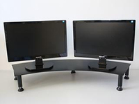 Fluteline Dual Monitor Stand Metal - Charcoal