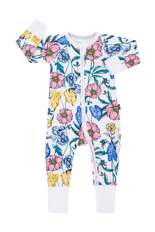 Bonds Zip Wondersuit Long Sleeve - Tomorrow Floral White (0-3 Months)