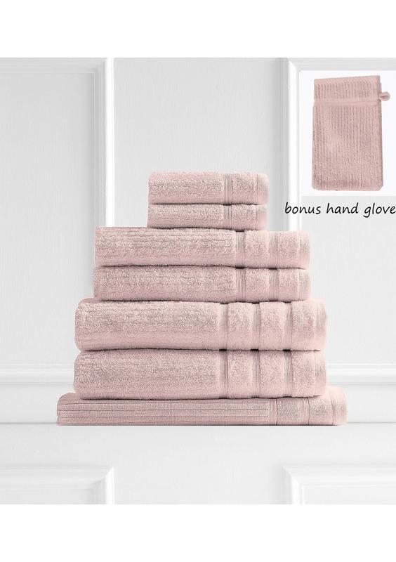 Royal Comfort Eden Egyptian Cotton 600 GSM 8 Piece Towel Pack - Blush