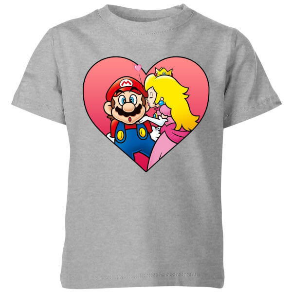 Nintendo Super Mario Peach Kiss Kids' T-Shirt - Grey - 3-4 Years image