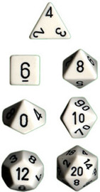 Chessex Opaque Polyhedral Dice Set - White/Black