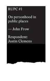 On Personhood in Public Places by John Frow