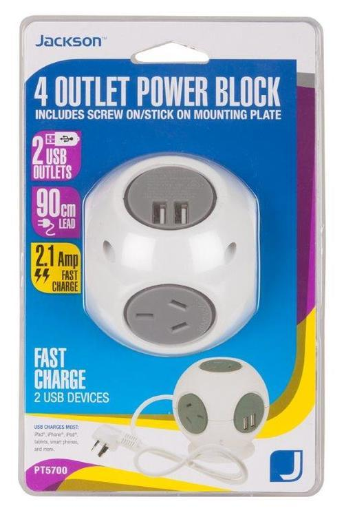 Jackson 4 Outlet Power Block with 2 USB Charging Outlets