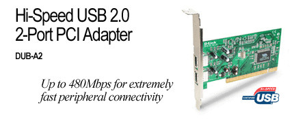 D-Link Hi-Speed USB 2.0 2 Port PCI Adaptor
