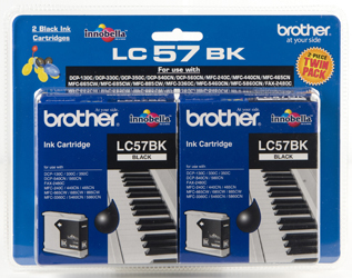 Brother Ink Cartridge LC57BK 2 Pack