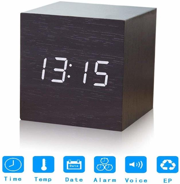 Wooden Grain Digital Voice Control Desk Alarm Clock - Black