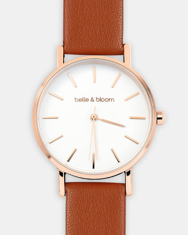 Belle and Bloom: Lafayette Love Classic Watch - Rose Gold / Tan