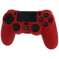 Pro Soft Silicone Protective Cover with Ribbed Handle Grip - Red for PS4