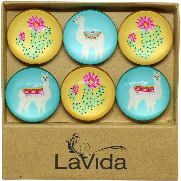 LaVida: Glass Magnets - Desert Llamas (Set of 6)