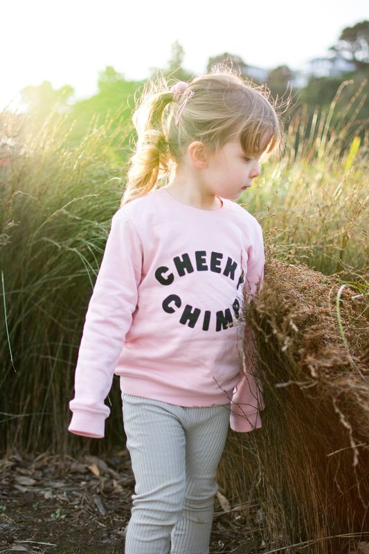 Cheeky Chimp: CC Logo Crew Jumper - Dusty Pink (Size 4)