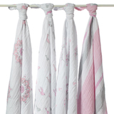 Aden+Anais Classic Swaddle - For The Birds (4 Pack Swaddling Wraps)