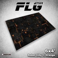 FLG Robot City Orange Neoprene Gaming Mat (6x4)