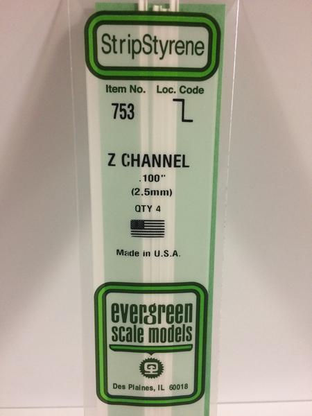 """Evergreen Styrene Z 35cm .100"""" X .050"""" X .018"""""""
