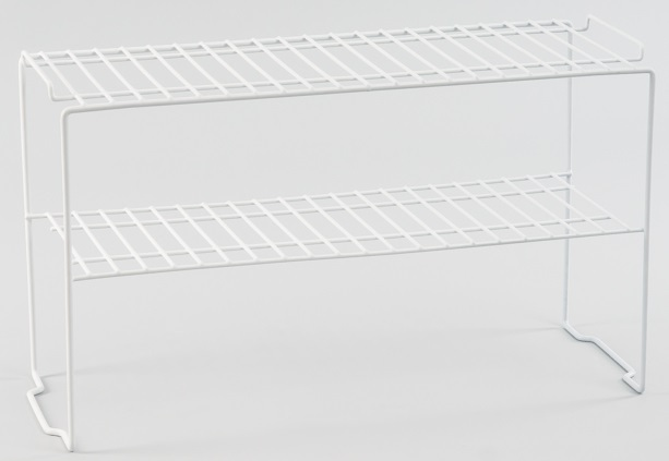 L.T. Williams - White Poly Coated Wire 2 Tier Shelf