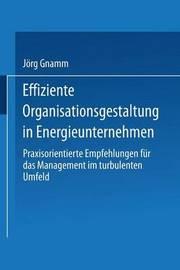 Effiziente Organisationsgestaltung in Energieunternehmen by Jorg Gnamm