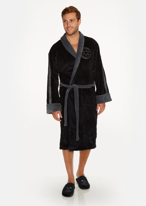 Star Wars: Darth Vader Embossed Hoodless Robe - Black & Grey Men's (One Size)