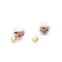 Short Story: Fantasy Bubble Earrings Gems Purple Gold Stud image