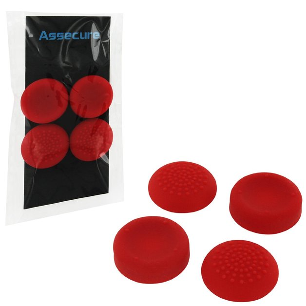 PS4 Silicone Thumb Grips: Concave & Convex - Red for PS4
