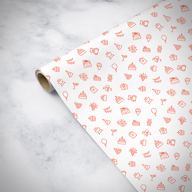 Gorilla Gift: Wrapping Paper - Birthday White (5m)