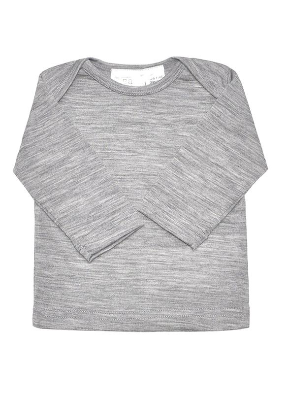 Babu: Merino Envelope Neck Long Sleeved Shirt - Grey (6-12m)