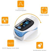 Fingertip Heart Rate Monitor With Pulse Oximeter - Blue