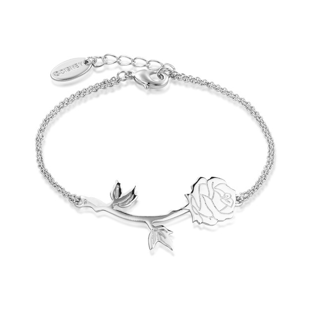 Disney Beauty & The Beast Rose Bracelet- White Gold