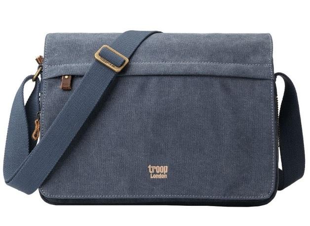 Troop London: Classic Small Flap-Front Messenger Bag - Blue