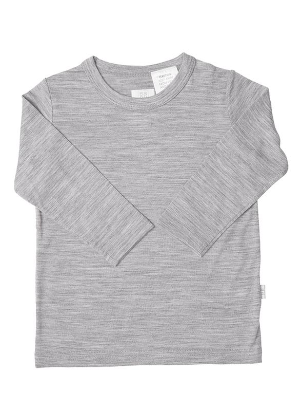 Babu: Merino Crew Neck Long Sleeve T-Shirt - Grey (4 Years)