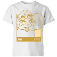 Nintendo Super Mario Wario Kanji Line Art Kids' T-Shirt - White - 11-12 Years image