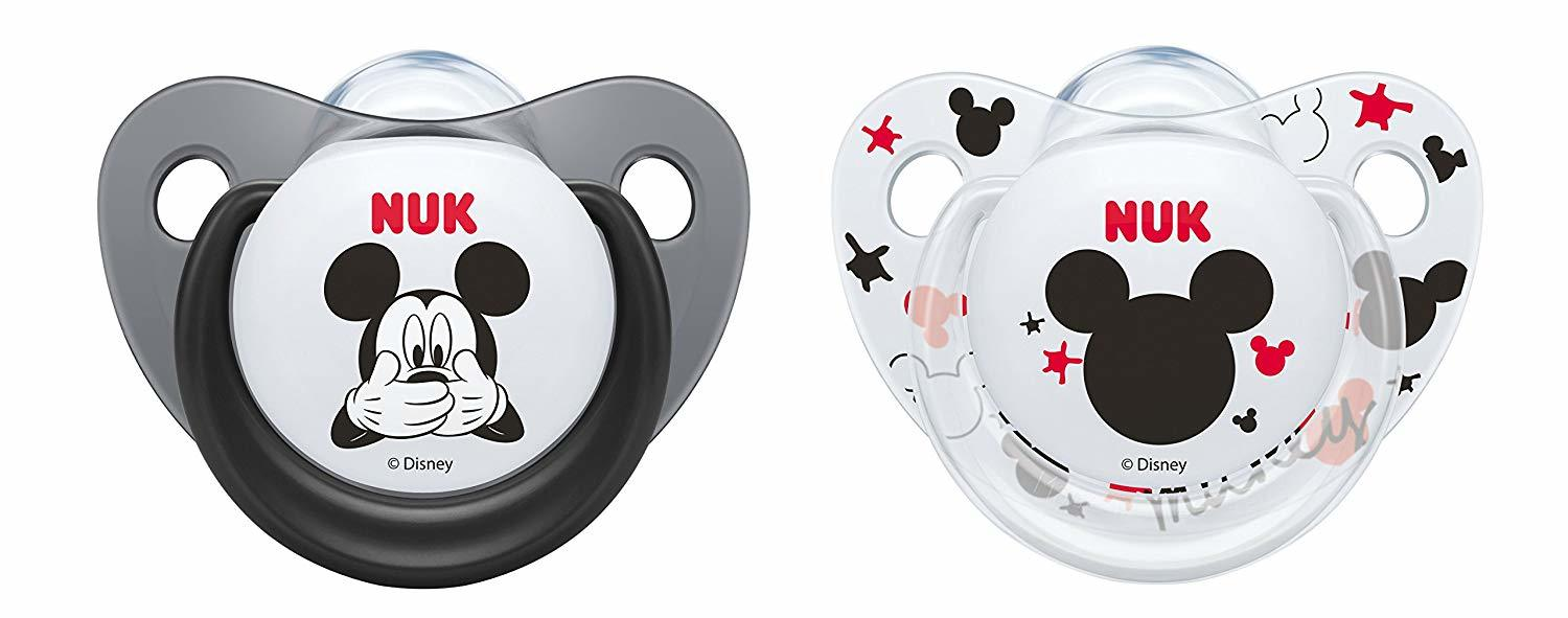 NUK: Mickey Silicone Soothers - 6-18 Months - Grey & White (2 Pack) image