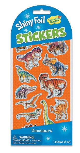 Peaceable Kingdom: Glitter & Foil Stickers - Dinosaurs image